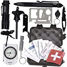 M MCGUIRE GEAR Emergency Survival Kit in Durable Waterproof Case, 10 in 1, Includes First Aid Kit