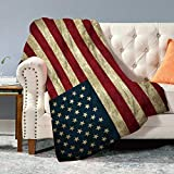 Hooome Thick Patriotic American Flag Print Sherpa Throw Blanket,Super Soft Queen Size 50' x 60',Luxury Plush Fleece Blanket for Couch Bed and Sofa.Gift for Men Women Proud American House…