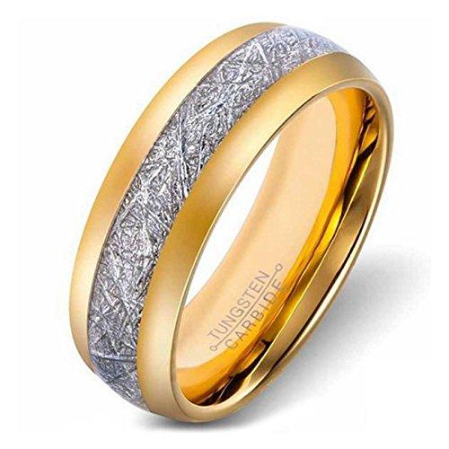 LAMUCH Men's 8MM Wide Plated 18K Gold Carbon Fiber Tungsten Steel Ring SizeV