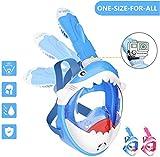 Tauchmaske Kinder Schnorchelmaske Tauchermaske Vollmaske mit Hai-Design-180 ° Breites Sichtfeld und Abnehmbare Kamerahalterung,Anti-Fog und...