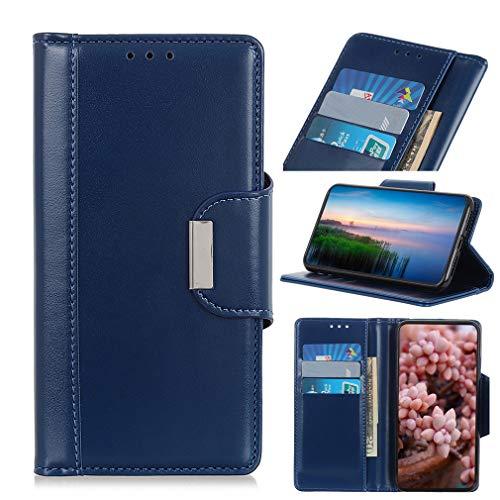 LMFULM® Hülle für Xiaomi Redmi 7A (5,45 Zoll) PU Leder Magnet Brieftasche Lederhülle Perlglanz Muster Stent-Funktion Schutzhülle Flip Cover für Redmi 7A Blau