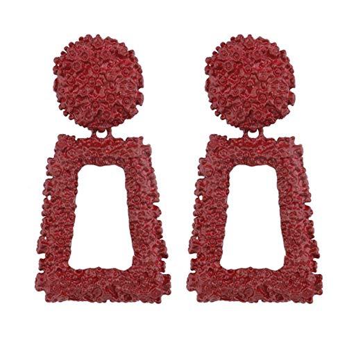 QIN Vintage big metal drop hanging ear, women's geometric wedding party jewelry gold big earrings 6 colors
