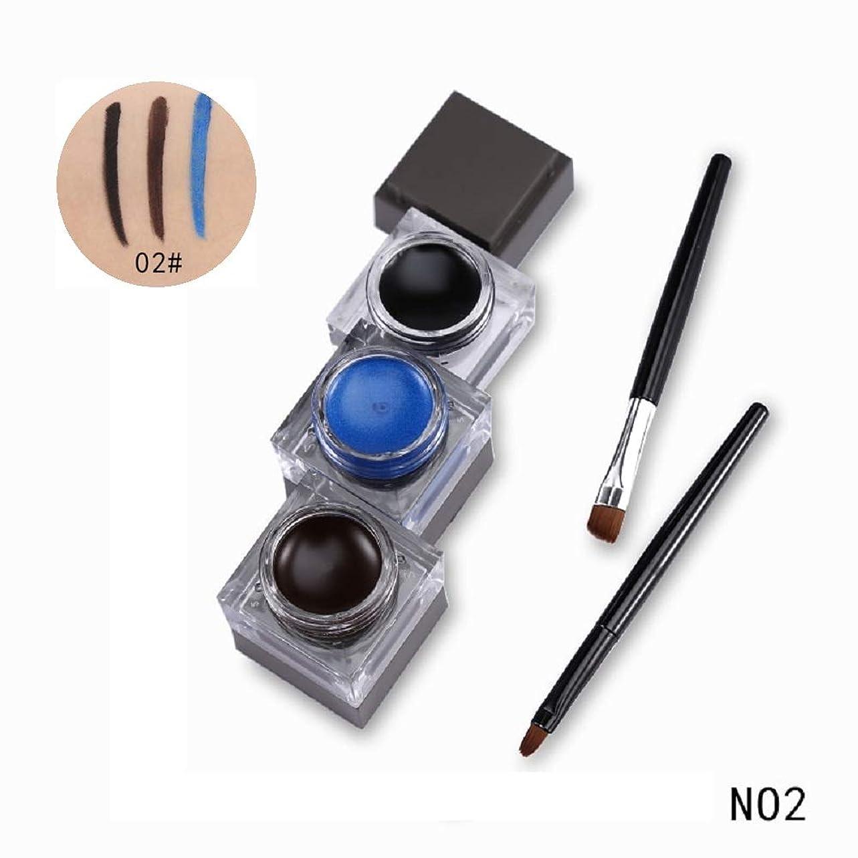 機関レスリングソケット3 in 1 Eyeliner Gel Eyebrow Cream Black Eye Liner with Eye Brown Makeup Brushes Tool Natural Cosmetic Set アイライナージェルアイブロークリームブラックアイライナーアイブラウンメイクブラシツールナチュラル化粧品セット (No2)