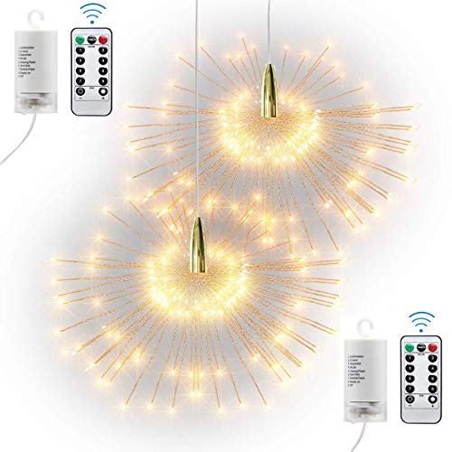 200 LED Firework Fairy Lights, Hanging Starburst Copper Wire Twinkle String Light, Waterproof, Battery Operated, Remote Control, Indoor Outdoor Garden Wedding Christmas Party Decor (2PCS Warm White)