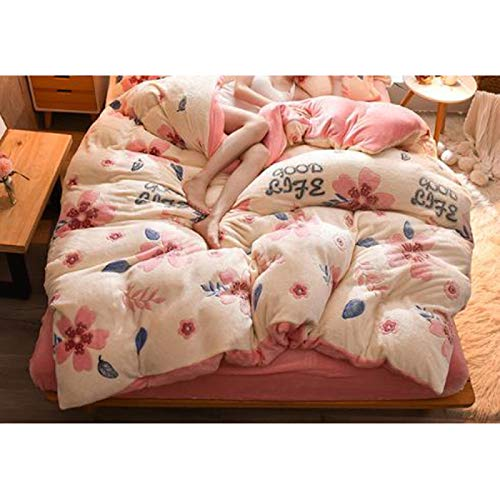 Yuan Ou Teddy Bear Bedding Crystal Coral Duvet Set Single Piece Thickened 2m Double Bed Single Student Flannel Quilt Cover Sheet Queen violet