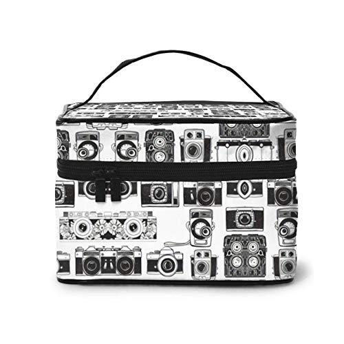 Divertido patrón de cámara, bolsa de maquillaje multifuncional de viaje, bolsa de cosméticos.