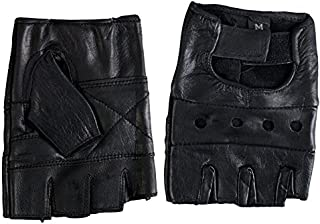 Hot Leathers Fingerless Leather Gloves (Black, Small)