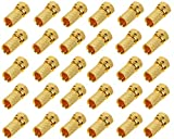 Trendsky 100 unidades de conectores F dorados de 7 mm para cable coaxial de antena de satélite, cable ancho