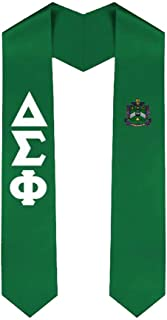 Delta Sigma Phi Greek Lettered Graduation Sash Stole With Crest