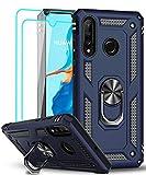 LeYi Funda Huawei P30 Lite / P30 Lite New Edition con [2-Unidades] Cristal Vidrio Templado,Armor Carcasa con 360 Grados Anillo iman Soporte Hard PC y Silicona TPU Bumper Case para Movil P30 Lite,Azul