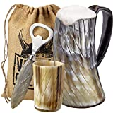Viking Culture Ox Horn Mug, Shot Glass, and Bottle Opener (3 Pc. Set) Authentic 16-oz. Ale, Mead, and Beer Tankard | Vintage Stein with Handle | Polished Finish | Diagonal Stripes