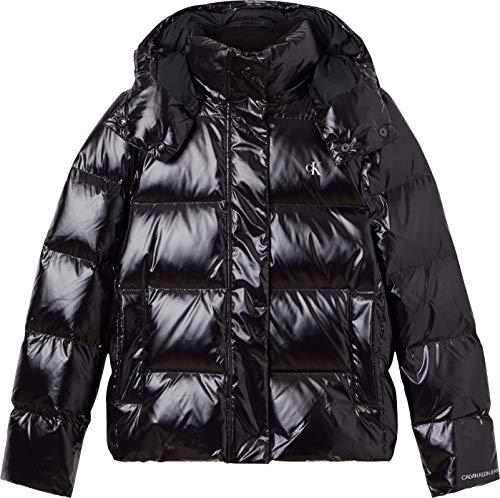 Calvin Klein Jeans Glossy Down Puffer Jacket Chaqueta de Jean, CK Black, S para Mujer