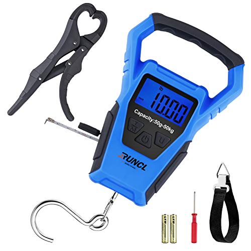 RUNCL Waterproof Fishing Scale with Fish Gripper, Digital Scale with Ruler, Weight Scale 110lb/50kgs - Backlit LCD Display, Memory Storage & Summation - Hanging Scale (Blue)