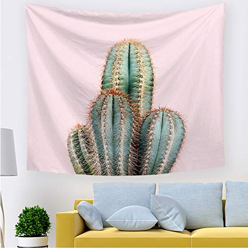 PPOU Tapiz de Cactus Verde Rosa Hojas Tropicales Hoja de Palmera Tapices Colgantes de Pared Paisaje Yoga Toalla de Playa A3 130x150cm
