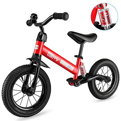 besrey Bicicleta sin Pedales Rueda de Goma Inflable Bicicleta Sin Pedales con Amortiguador Central - Rojo