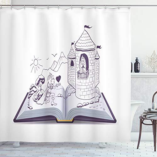 ABAKUHAUS Kindergarten Duschvorhang, Ritter Prinzessin Fairytale, Moderner Digitaldruck mit 12 Haken auf Stoff Wasser & Bakterie Resistent, 175x240 cm, Aubergine Pastell Lila