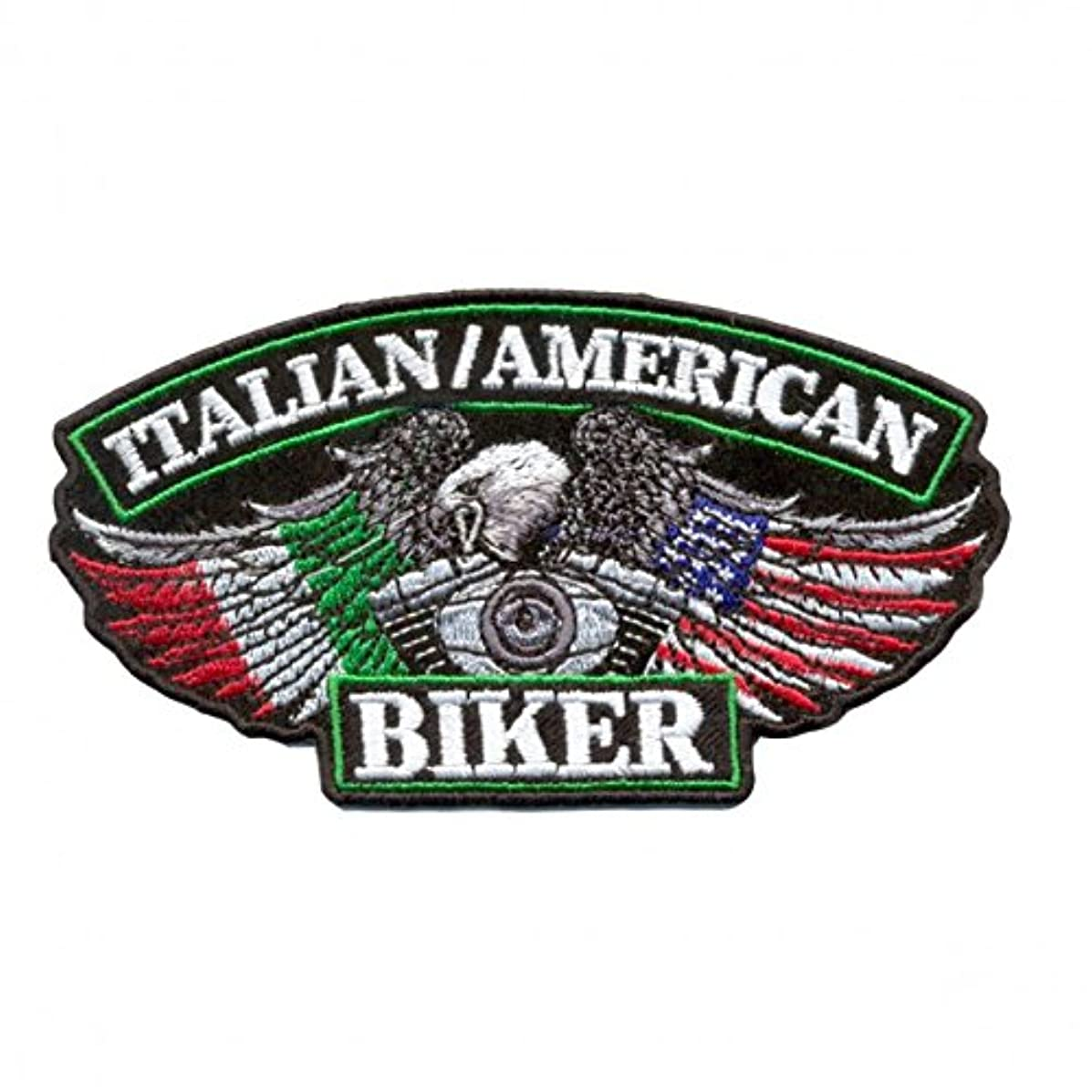 Hot Leathers, ITALIAN/USA BIKER FLAGS, Iron-On / Saw-On Rayon PATCH - 5