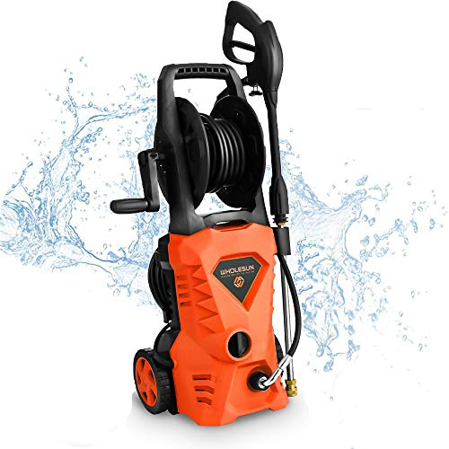 WHOLESUN 3000PSI Electric Pressure Washer 1.8GPM 1600W Power Washer with Hose Reel and Brush Orange