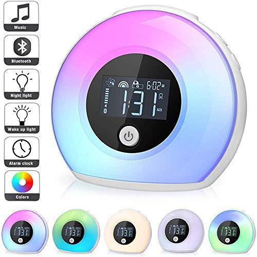 MKWEY Nachtlicht Bluetooth Lautsprecher, Nachttischlampe der Noten-Sensor-Tabellen-Lampe dimmbar warmes weißes Licht & Farbe 7, 3 Helligkeiten Wechsel mit Wecker/FM /