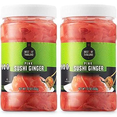 Pickled Sushi Ginger - 2 Jars of 12-oz - Japanese Pickled Gari Sushi Ginger Kosher, Fat Free, Sugar Free, No MSG - By Best of Thailand