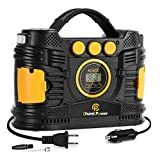 Air Compressor Tire Inflator, Portable 12V DC/110V AC Tire Pump Maximum120 PSI with Digital Pressure Gauge for Car Tires, Motorcycle, Bike, Balls, C P CHANTPOWER