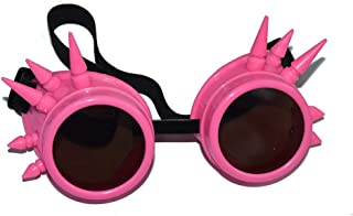 eoocvt Spiked Retro Vintage Victorian Steampunk Goggles Glasses Welding Cyber Punk Gothic Cosplay Sunglasse (Pink)