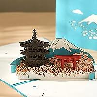 富士山のグリーティングカード 立体メッセージカード 3Dポップアップカード Merry Christmas card 手作り 誕生日カード 感謝状 結婚祝い バースデーカード プレゼント 封筒付き (富士山)