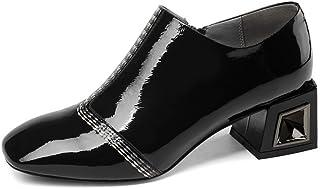 Nine Seven Patent Leather Women's Square Toe Mid Heel Pumps - Handmade Side Zipper Comfortable Business Walking Dress Shoes