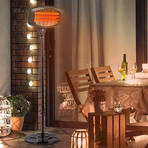 Electric Outdoor Patio Heater - 3 Power Levels Outdoor Heater for 500/1000W/1500W 110V Infrared Carbon Tube Heater Overheat Protection, Super Quiet Warm Vertical Electric Heater for Big Room Backyard