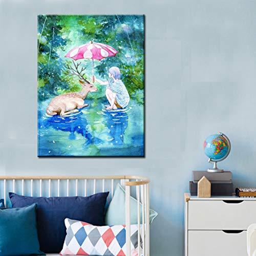 Danjiao Aquarell Leinwand Malen Ein Kleines Mädchen Mit Einem Regenschirm Für Einen Verwundeten Hirsch Auf Leinwand Wandbild Für Kinderzimmer Home Decor Wohnzimmer 60x90cm