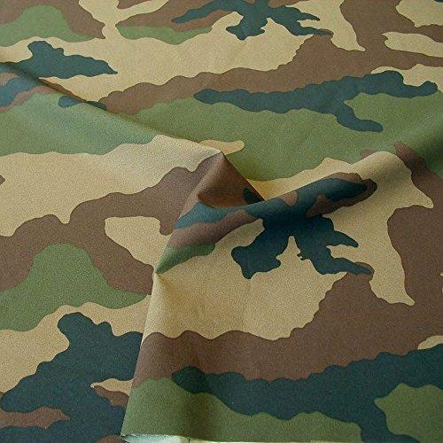 TOLKO Camouflage Stoff aus Nylon   Robust Reißfest Farbecht UV-beständig   Uniform Meterware im französichen Armee Flecktarn   Nylonstoff mittelschwer 150cm breit (Frankreich)