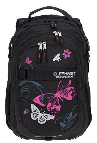 ELEPHANT Schulrucksack Hero Signature Rucksack Motiv 12679 (Butterfly Black PINK)
