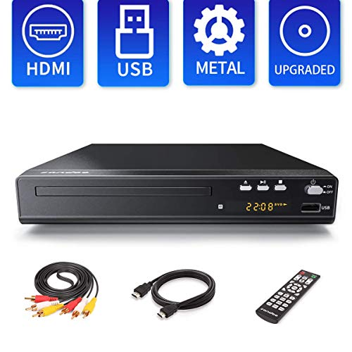 [Updated 2020 Version] Sandoo DVD Player, Region Free Disc for TV, Metal Shell, HDMI/AV Cable Included, HD 1080P, Support USB, Updated Remote, Built-in Signal System: PAL/NTSC/AUTO, MP2208
