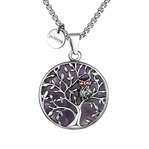 JADENOVA Owl Family Tree Necklace Tree of Life Gemstone Pendant Owl Necklace 24 Inches Stainless Steel Chain