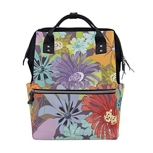 FANTAZIO Mummy Bag Backpack Watercolor Flowers Floral School Bag