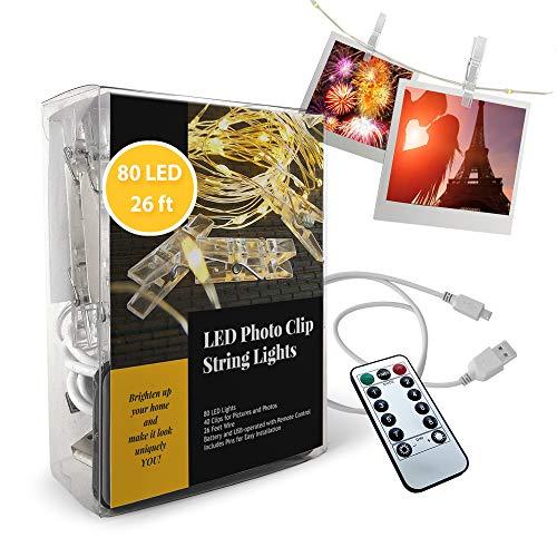 Foto Clip Lichterkette - 80 LED Lichter mit 40 Clips für Bilder und Fotos - 26 Fuß Draht - Batterie- und USB-betrieben - mit Fernbedienung - Wandpins für einfache Installation