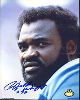 Rayfield Wright (HOF) Autographed/ Original Signed 8x10 Color Photo w/ the Dallas Cowboys - He Inscribed His Number