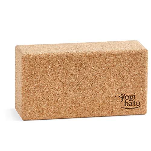 Yogibato Yogablock Kork Made in Portugal | Yoga Block 1er Pack | Natur Korkblock mit E-Book für Yoga Fitness Pilates – Hatha Klotz Cork Brick – Yogaklotz 100% Naturkork