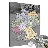 LanaKK – Deutschlandkarte Leinwandbild mit Korkrückwand