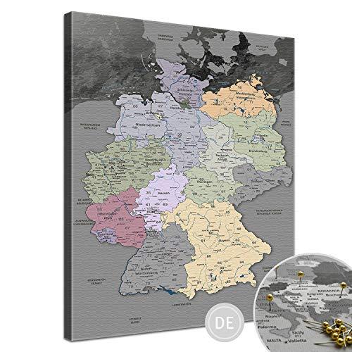 """LanaKK – Deutschlandkarte Leinwandbild mit Korkrückwand zum pinnen der Reiseziele """"Deutschlandkarte Edelgrau"""" - deutsch - Kunstdruck-Pinnwand Globus in grau, einteilig & fertig gerahmt in 40x60cm"""