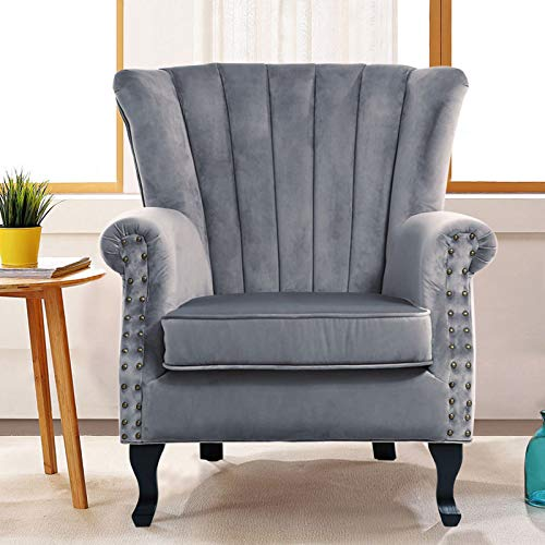 INMOZATA Grey Armchair High Fireside Chair Velvet Accent Tub Chair Load Maximum Weight 150kg Queen Anne Chair for Living Room Bedroom Dining Reception(Grey)
