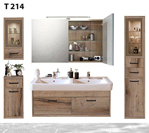 regalwelt Bad Serie timbery T214lavabo, Armadietto a Specchio, Alto, Superiore e Inferiore congelatore