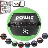 POWRX Wall ball Balón medicinal 5 kg - Ideal para ejercicios de »Functional Fitness«,...