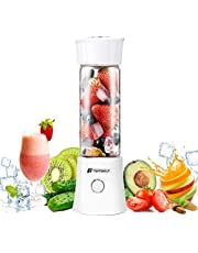 Portable Rechargeable Juice Blender, Household Fruit Mixer, T Tersely Personal Blender 480ml / 16.8OZ USB Juicer Cup for Home, Outdoors and Travelling[6 Blade / 22000RPM] - White