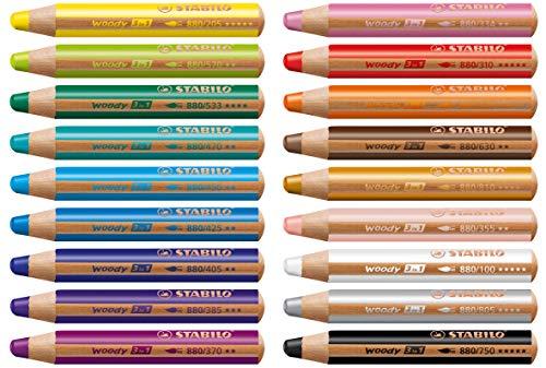 Stabilo Woody Buntstift 3 in 1 Holz Multitalent-Farbstift rund Set (18 Stifte, Sortiert | 18 Farben)