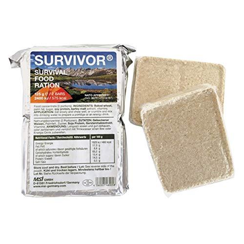 Notfall Nahrung Notration 125g Notfallnahrung 2 Riegel - Luft & Wasserdicht verpackt im handlichen Format - liefert schnell Energie - Survival Essen für Prepper - Vegan