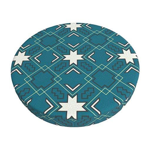 Round Bar Stools Cover,Ethnisches Muster In Blau,Stretch Chair Seat Bar Stool Cover Seat Cushion Slipcovers Chair Cushion Cover Round Lift Chair Stool
