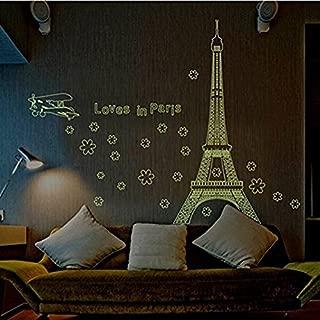 Adhesivo de pared París Torre Eiffel de la luz fluorescente Adhesivo de pared decorativo