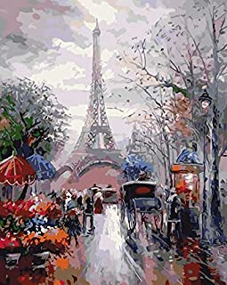 Paint by Numbers kit, Wooden Framed, DIY Oil Painting - French Street (16x20 inch.)