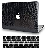 KECC Laptop Case for MacBook Air 13' Retina (2020/2019/2018, Touch ID) w/Keyboard Cover Italian Leather Case A1932 2 in 1 Bundle (Black Crocodile Leather)